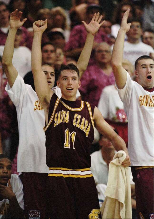 Santa Clara's Steve Nash celebrates during the final moments of the Broncos' victory over defending national champion UCLA in 1995. Nash led Santa Clara to three NCAA tournament appearances. Photo: BOB GALBRAITH, Associated Press