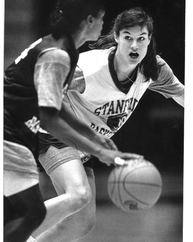 This is Stanford star Jennifer Azzi in 1990, the year she won an NCAA championship with the Cardinal women's basketball team. She was awarded Pac-12 Player of the Year that year too. Photo: Scott Sommerdorf, The Chronicle