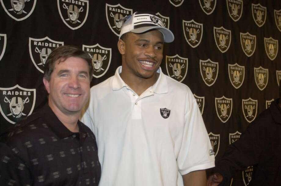 Here's Cal's Nnamdi Asomugha after being drafted by the Raiders in the first round of the 2003 NFL Draft. Photo: PAUL CHINN, SFC