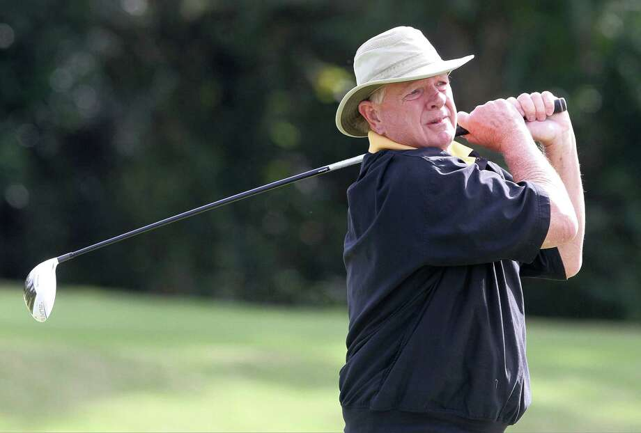 Former Houston Astros broadcaster and manager Larry Dierker hits off the 10th tee during The Woodlands Celebrity Golf Classic at The Woodlands Country Club on Friday, Nov. 8, 2013, in The Woodland, Texas. (AP Photo/Conroe Courier, Jason Fochtman) Photo: Jason Fochtman, Associated Press / Conroe Courier