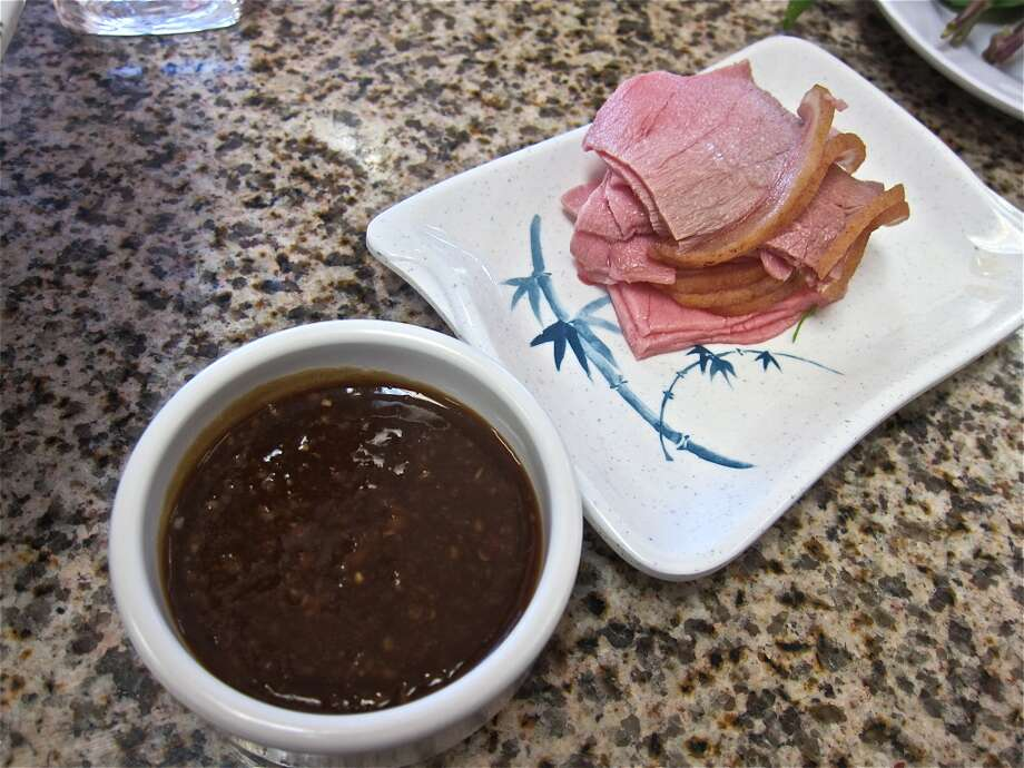 Sliced raw veal with ginger sauce at Pho Hung. Photo: Alison Cook