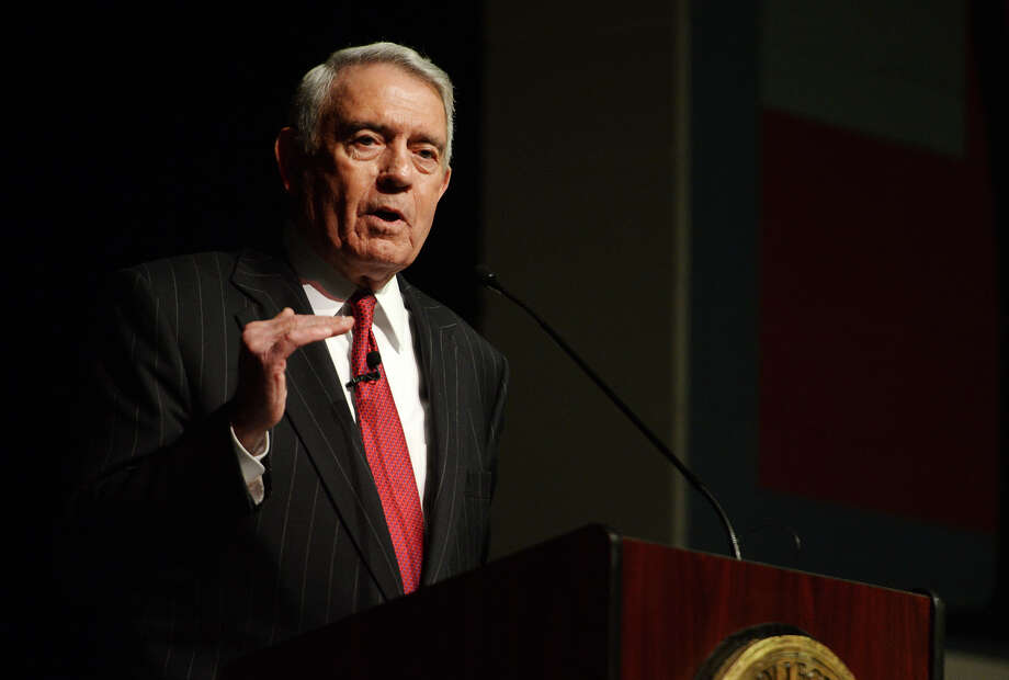 Dan Rather relates a story Tuesday night about how his wife helps him retain his humility. Rather was the keynote speaker for the Lamar State College-Port Arthur Distinguished Lecture Series on Tuesday night. The Texas native spoke to reporters about his experiences in the media, and then delivered an address to the public at the Carl A. Parker Multipurpose Center. Photo taken Jake Daniels/@JakeD_in_SETX Photo: Jake Daniels / ©2013 The Beaumont Enterprise/Jake Daniels