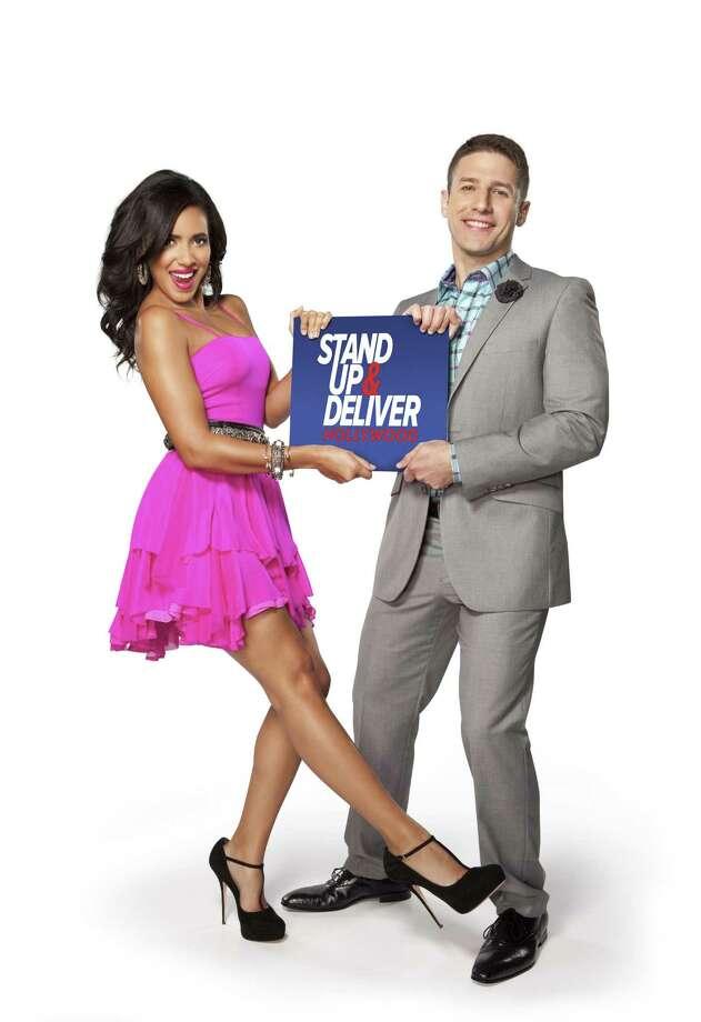 "Julissa Bermudez and Jose Sarduy host ""Stand Up & Deliver"" on nuvoTV."