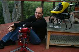 **EMBARGO: No electronic distribution, Web posting or street sales before Tuesday 12:01 a.m. ET Dec. 4, 2013. No exceptions for any reasons. EMBARGO set by source.** Andy Rubin, the engineer heading Google's robotic effort and the man who built the Android software for smartphones, in Los Altos Hills, Calif., Oct. 29, 2013. Google has acquired seven companies in hopes of automating electronics assembly and maybe even taking on Amazon in retail delivery. (Jim Wilson/The New York Times)