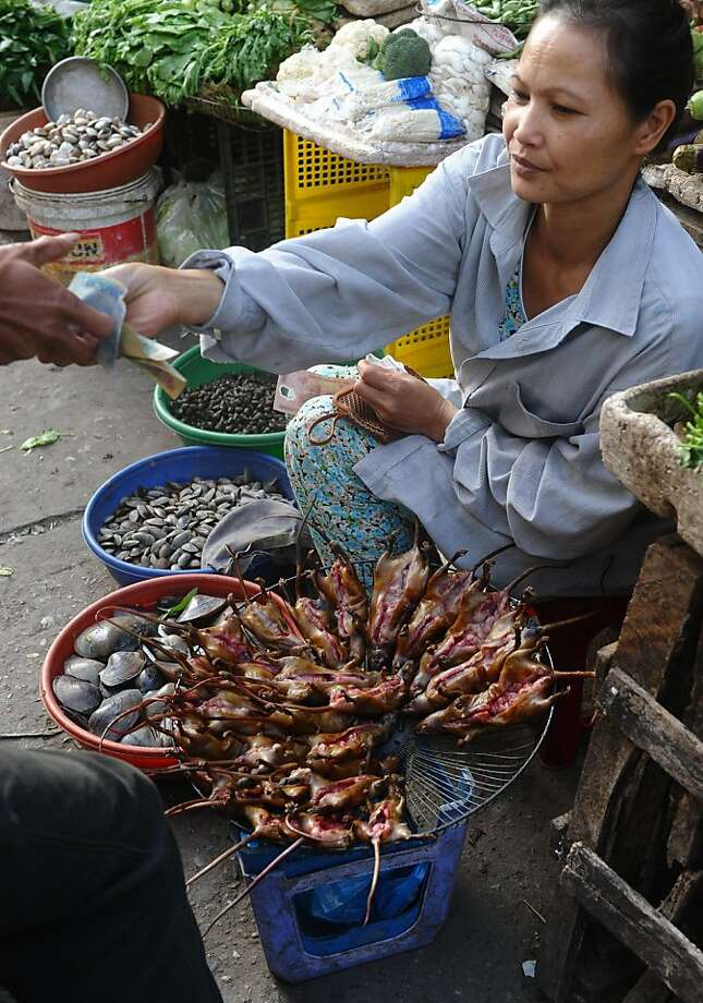 Tails of the city:A vendor sells roasted rats, a delicacy for some Vietnamese in   the Northern Red River and Southern Mekong River deltas,  at a market on the outskirts of Hanoi. A kilogram of rodent meat costs   around 100,000 dong, or about $4.50. Photo: Hoang Dinh Nam, AFP/Getty Images
