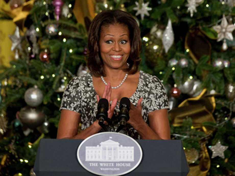 First lady Michelle Obama speaks to military families in front of a Christmas tree at the White House in Washington, Wednesday, Dec. 4, 2013. Photo: Jacquelyn Martin, AP / AP