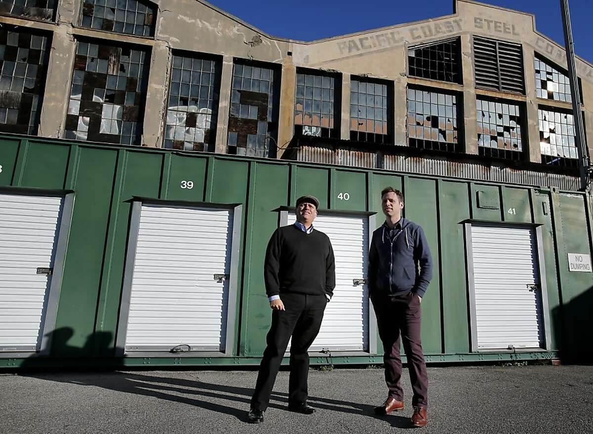 Steven Lucero (left) of PopUpShopUp and SQFT founder Patrick Keenan hope to build a pop-up city at S.F.'s Pier 70.