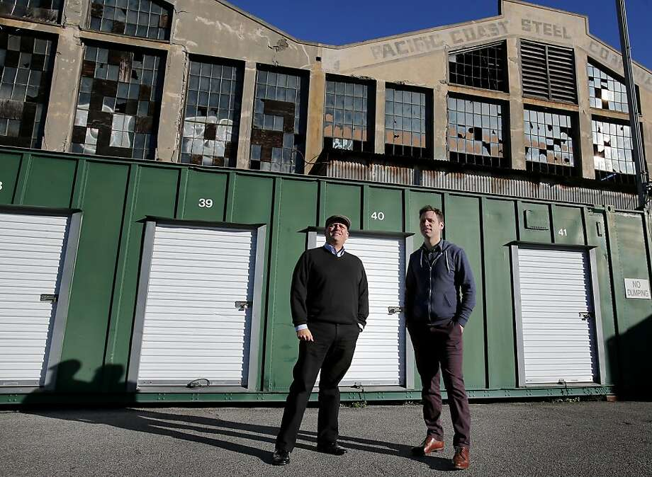 Steven Lucero (left) of PopUpShopUp and SQFT founder Patrick Keenan hope to build a pop-up city at S.F.'s Pier 70. Photo: Brant Ward, The Chronicle