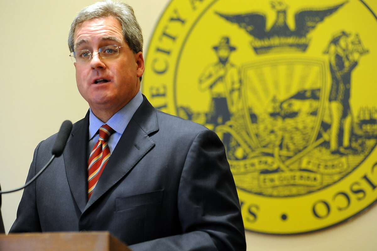 City Attorney Dennis Herrera reports during a press conference at City Hall that he has filed dual legal challenges to the possible termination of City College of San Francisco's accreditation, in San Francisco, California on Thursday, August 22, 2013.