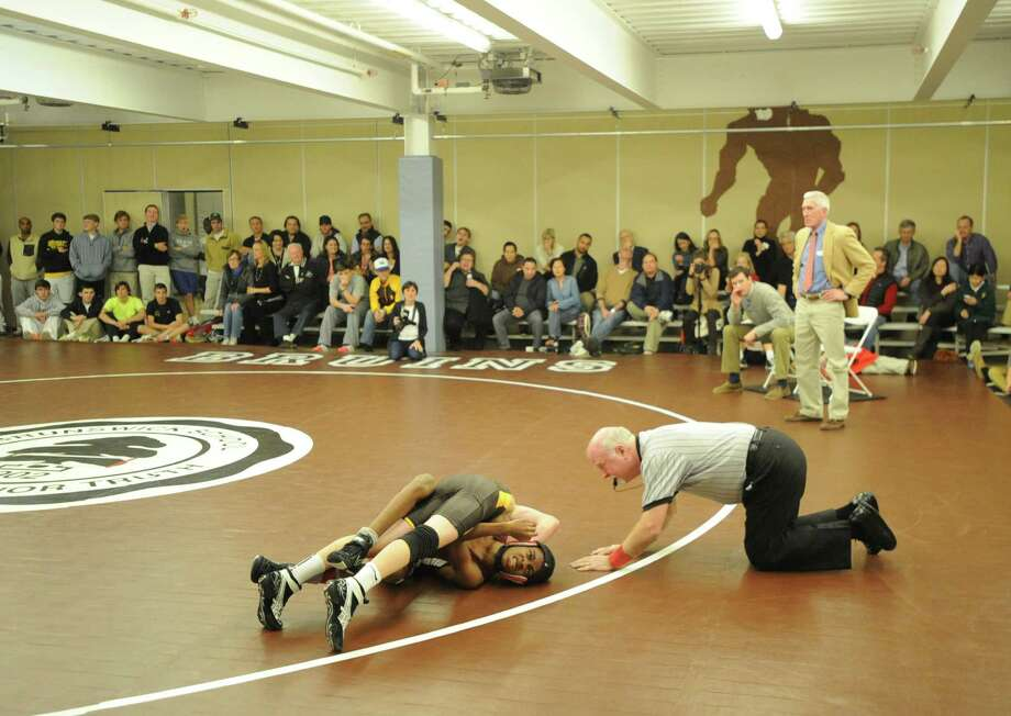 Brunswick School vs. Horace Mann School in high school wrestling match at Brunswick in Greenwich, Wednesday, Dec. 4, 2013. Photo: Bob Luckey / Greenwich Time