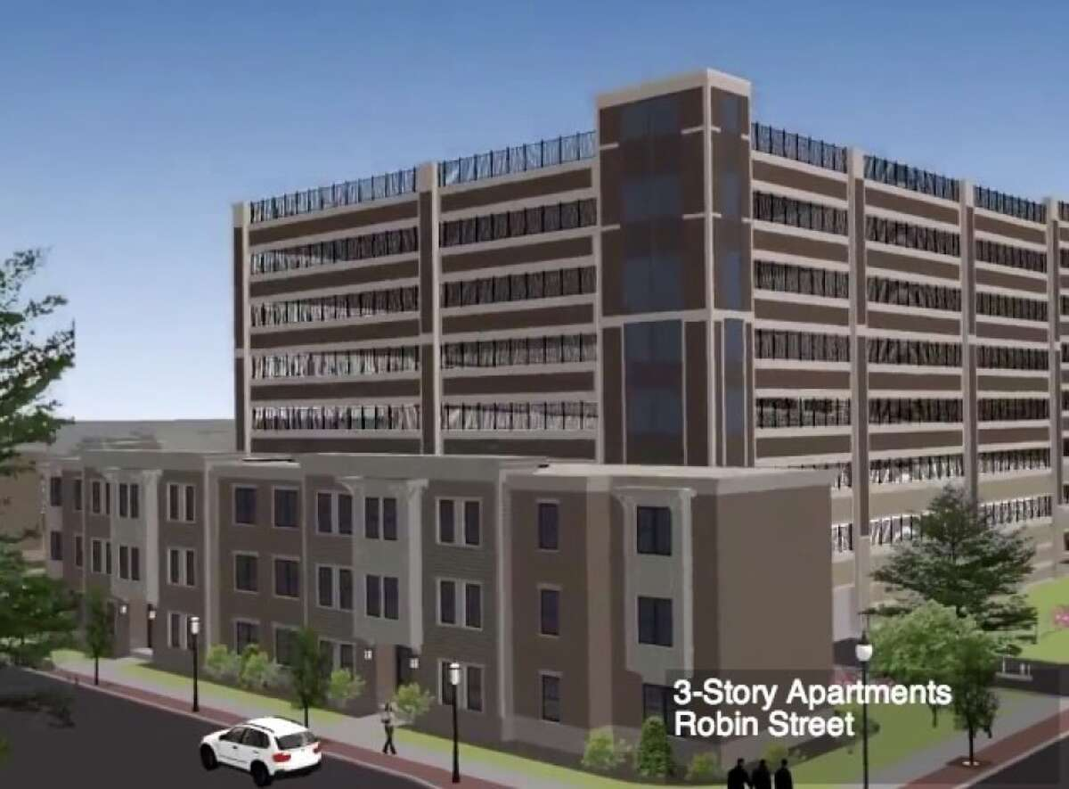 Architect's rendering of the eight-story, 855-space garage planned for the Park South neighborhood. The garage is controversial, with some city residents saying it's far too big for the area south of Washington Park in Albany.