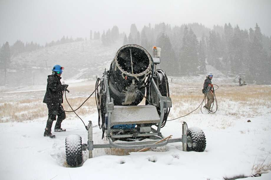 Crew puts snow gun in place at Homewood, located along west shore of Lake Tahoe Photo: Homewood Mountain Resort