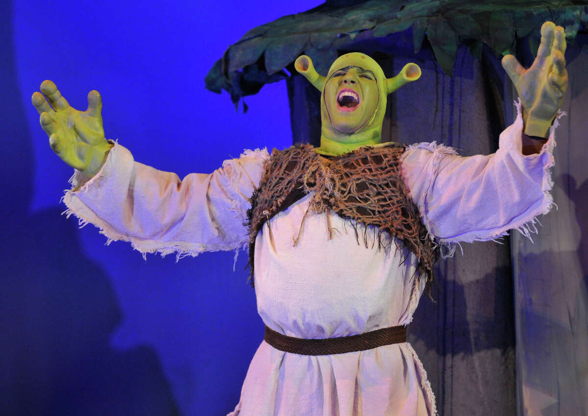 """Bennett Leeds plays Shrek during The Stamford All-School Musical's dress rehearsal performance of """"Shrek the Musical"""" at Rippowam Middle School in Stamford, Conn., on Wednesday, Dec. 4, 2013. Opening night is Saturday, Dec. 7 at 7:30 p.m. at Rippowam Middle School, followed by four more performances. For more information go to stamfordallschoolmusical.org."""