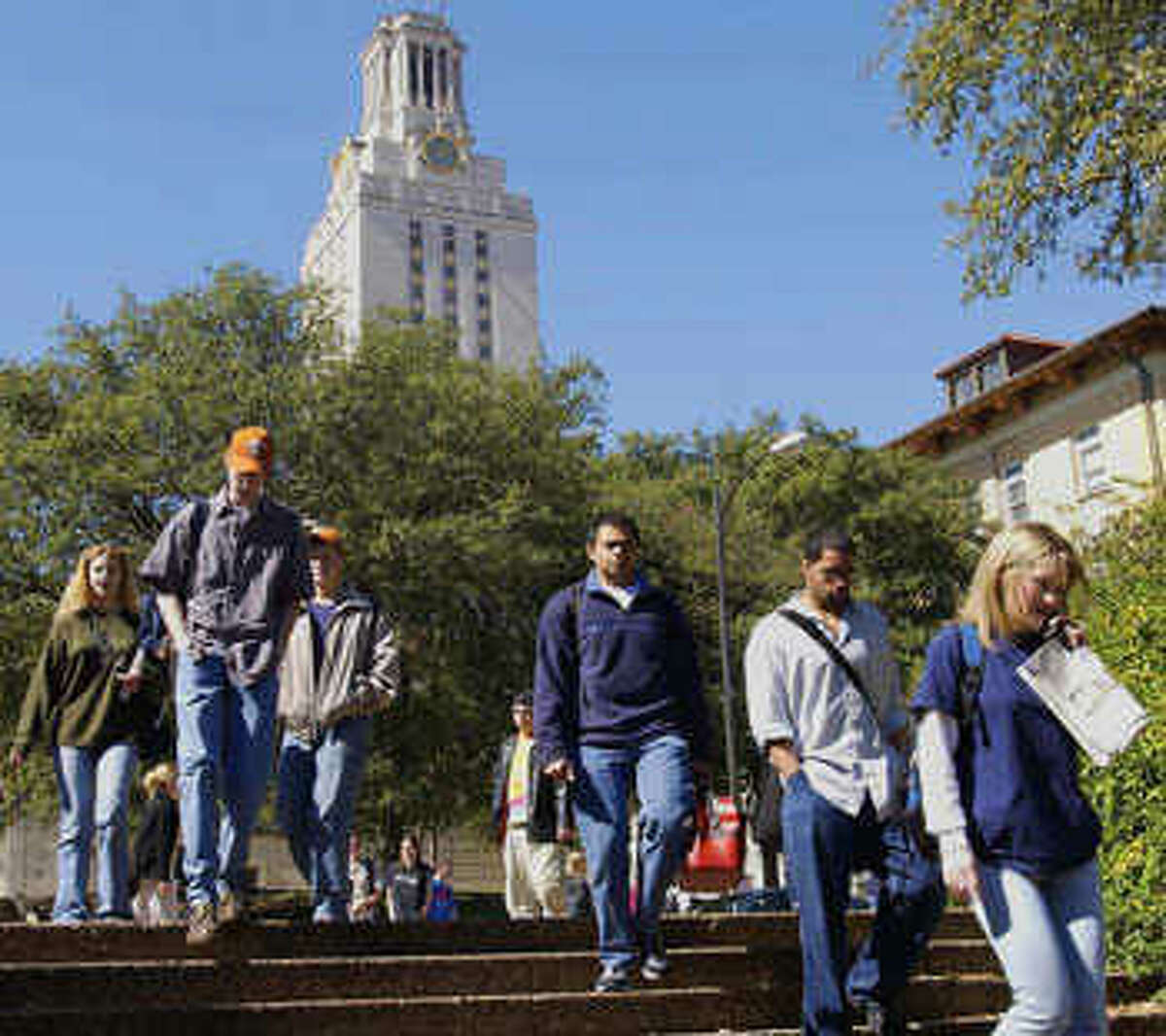 Students head to classes at UT-Austin.