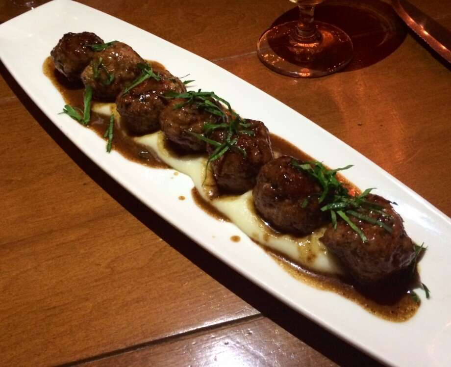 Veal meatballs on mashed potatoes with green peppercorn sauce ($15)