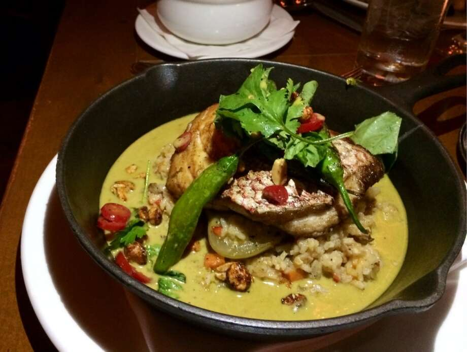 American red snapper with dirty rice, plantains,shishito peppers and a pepper pot stew ($27)