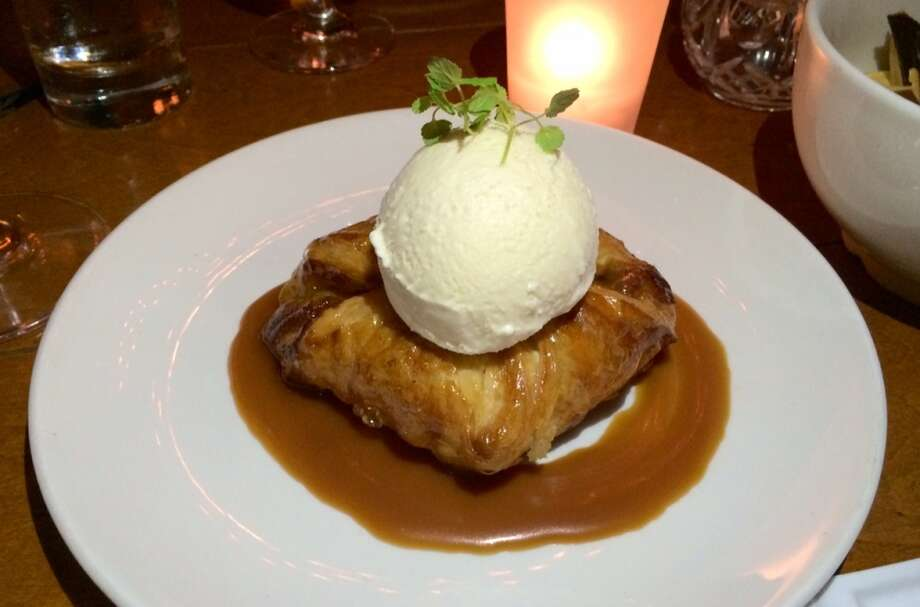 Warm apple frangipane puff pastry with maple  bourbon caramel ($10)