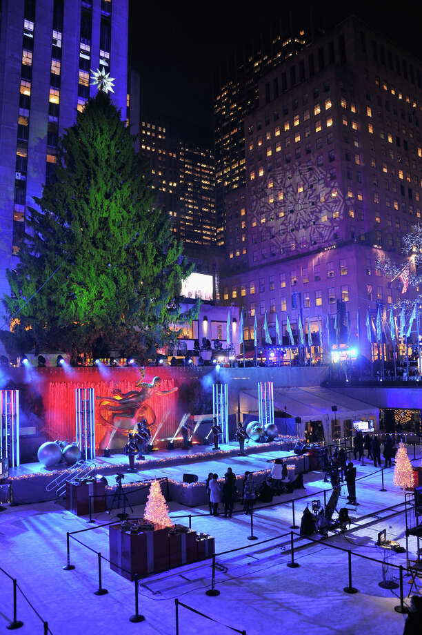 NEW YORK, NY - DECEMBER 04:  The tree is waiting to be lit prior to 81st Annual Rockefeller Center Christmas Tree Lighting Ceremony at Rockefeller Center on December 4, 2013 in New York City. Photo: Stephen Lovekin, Getty Images / Getty Images