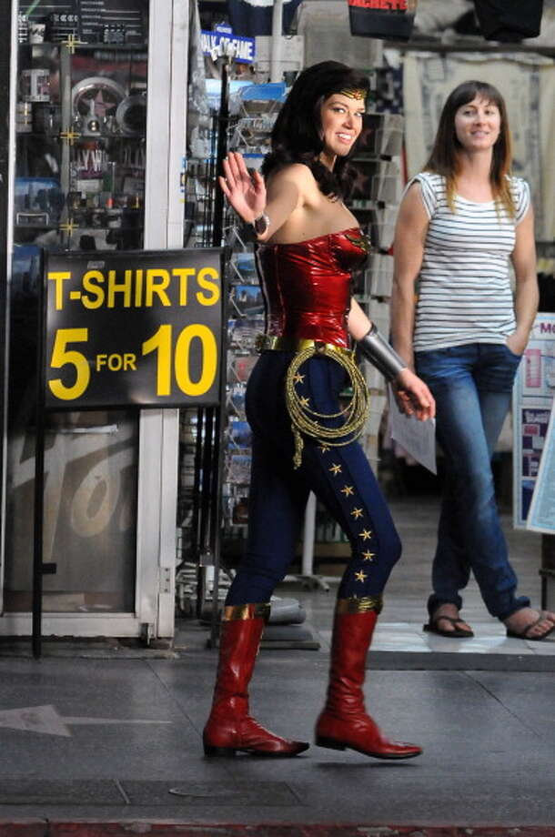 Adrianne Palicki on the set of Wonder Woman on March 30, 2011 in Los Angeles, California. Photo: Lory Ayala, BuzzFoto/FilmMagic / 2011 BuzzFoto