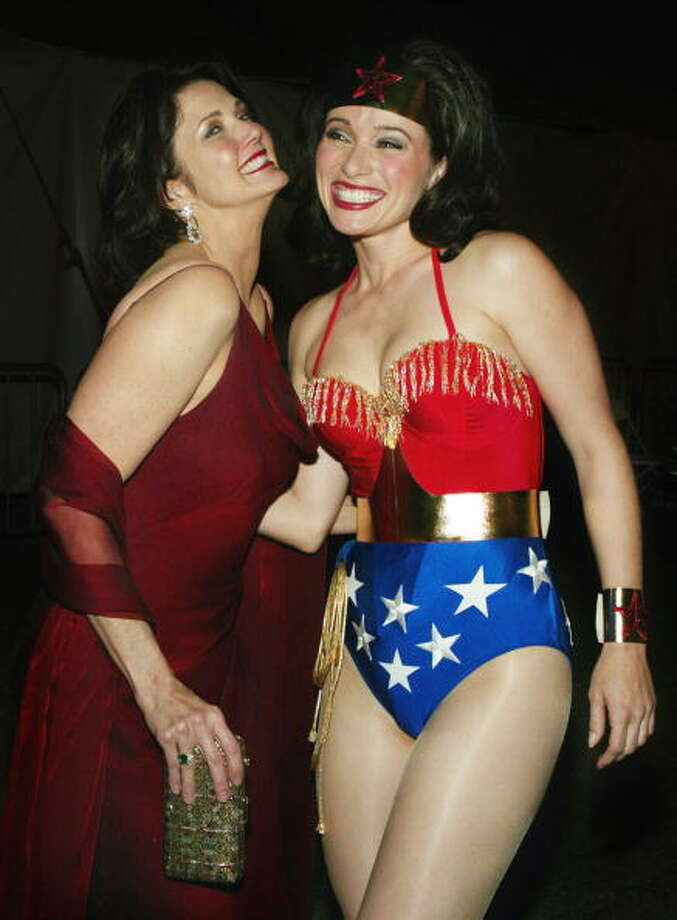 (L)  Former Wonder Woman, actress Lynda Carter and Wonder Woman pose backstage at the 2nd Annual TV Land Awards held at The Hollywood Palladium, March 7, 2004 in Hollywood, Calif. Photo: Frank Micelotta, Getty Images / 2004 Getty Images