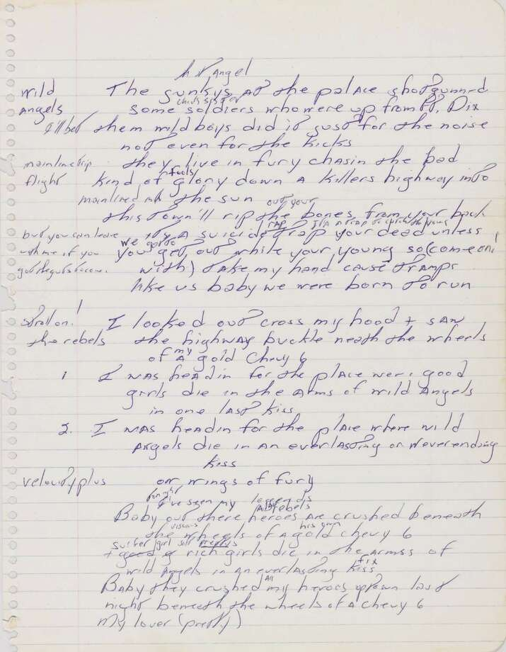 "FILE - This file image released by Sotheby's shows a page from a handwritten manuscript of Bruce Springsteen's 1975 hit ""Born to Run.""  The handwritten, working lyric sheet for Bruce Springsteen's 1975 hit ""Born to Run"" could sell for as much as $100,000 on Thursday Dec. 5, 2013, Sotheby's has predicted. (AP Photo/Sotheby's, File) ORG XMIT: NY107 / Sotheby's"