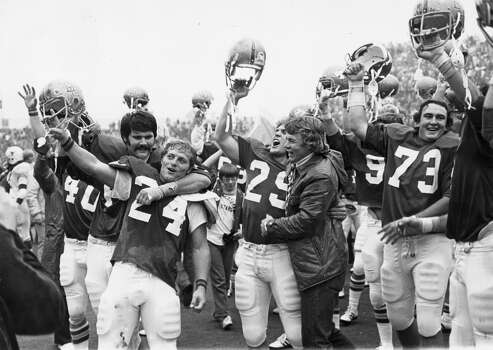 After Baylor clawed its way back against Texas in 1974, players and coaches celebrated the school's biggest win. (Houston Chronicle file photo)