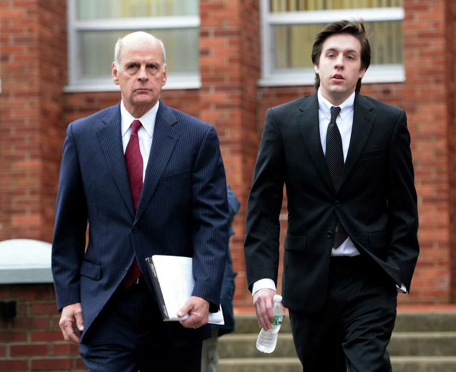 Dennis Drue, left, arrives with his attorney Steve Coffey, right, at Saratoga County Courthouse Thursday afternoon, Dec. 5, 2013, in Ballston Spa, N.Y,  Drue is to be sentenced after pleading guilty felony charges regarding the Northway crash which killed Chris Stewart and Deanna Rivers just over a year ago. (Skip Dickstein/Times Union) Photo: SKIP DICKSTEIN / 00024829A