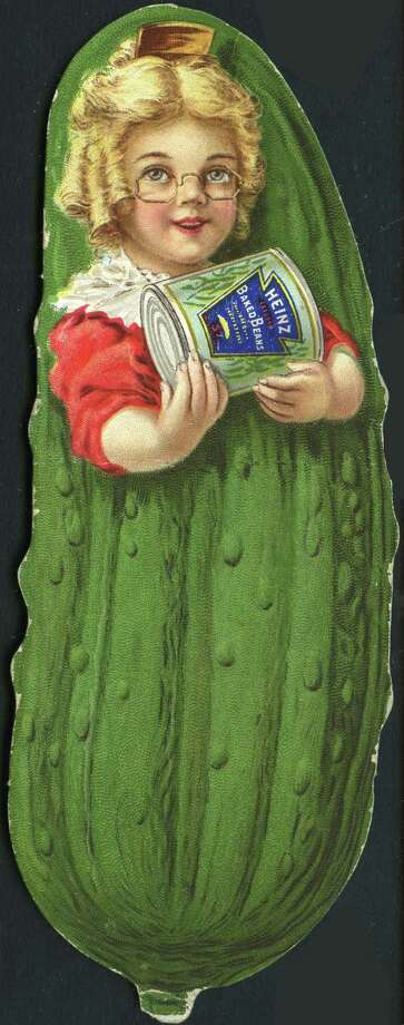 Again, Heinz is advertising its pickles ... or is it? The girl-pickle hybrid is holding a can of baked beans. Photo: Transcendental Graphics, Getty Images / 1900 Transcendental Graphics