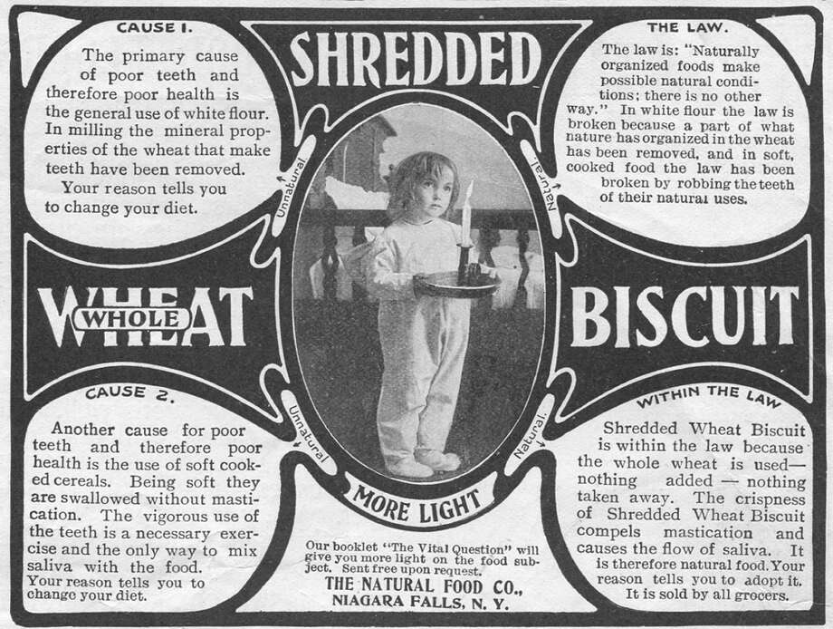 At this time Shredded Wheat was sold by the Natural Food Company, which was bought by Nabisco, which sold the brand to Kraft, which sells the product today under the Post name.  Photo: Jay Paull, Getty Images / Archive Photos