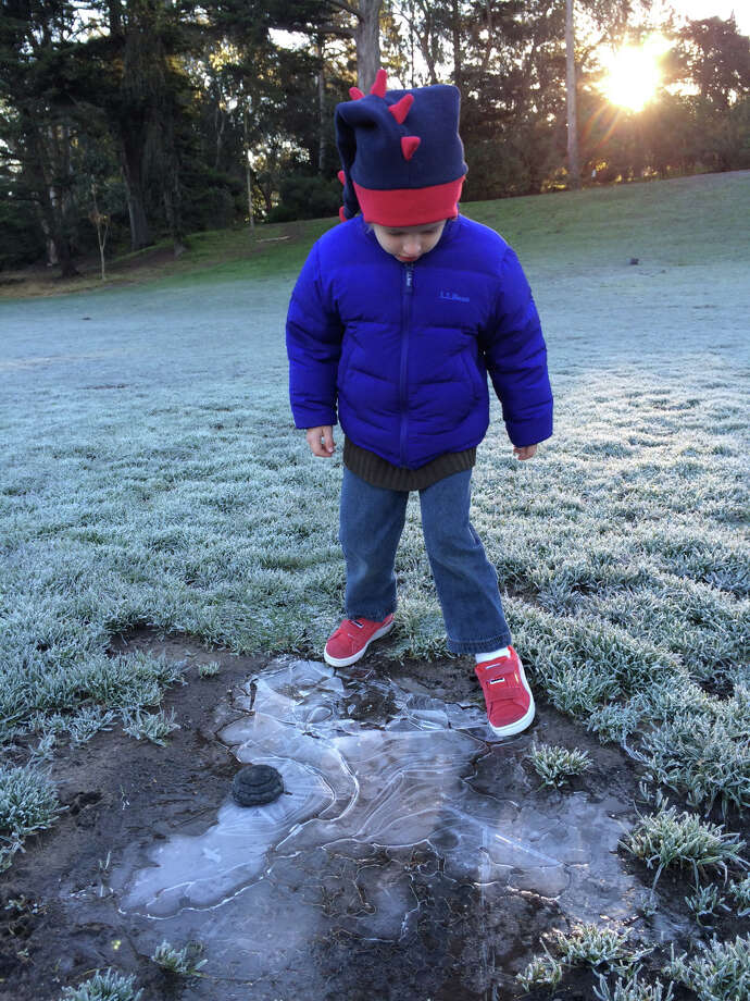 Jodi Fleischman provided these photos of her child enjoying the chilly weather in Golden Gate Park this morning. Photo: Courtesy Of Jodi Fleischman