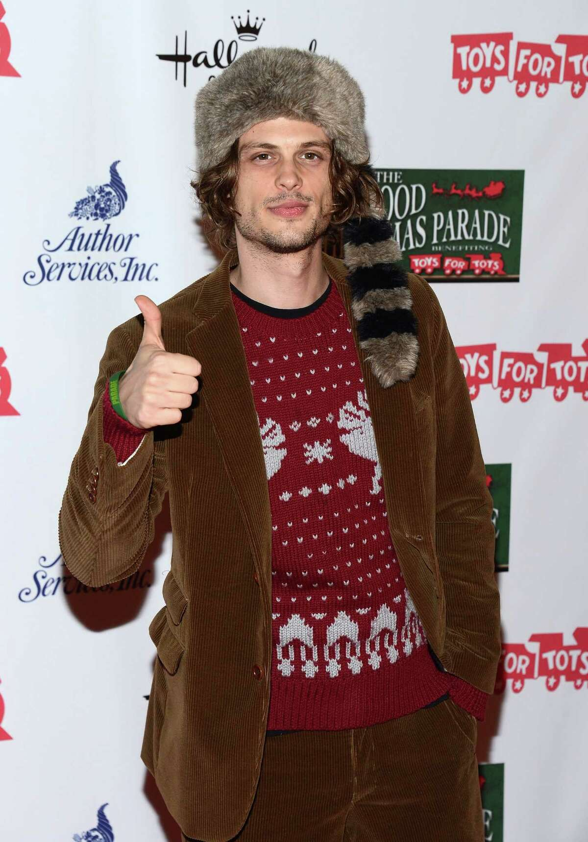 Actor Matthew Gray Gubler was worried his sweater might be too understated. If Davy Crockett lived to see this, well, ... probably a pile of dead hipsters.