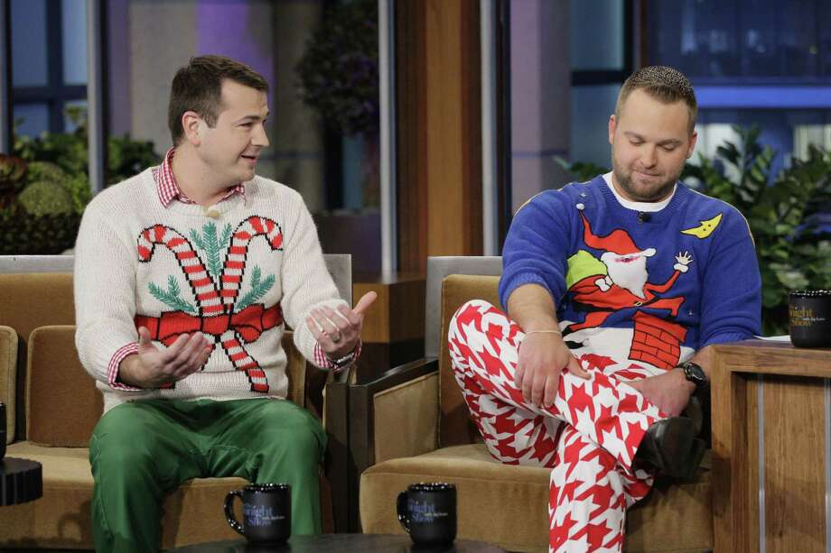 "These jokers wrote the book on ugly Christmas sweaters. Literally. It's called ""Ugly Christmas Sweater Party,"" and they're Ryan Miller and Adam Paulson. Photo: NBC, Getty Images / © NBCUniversal, Inc."