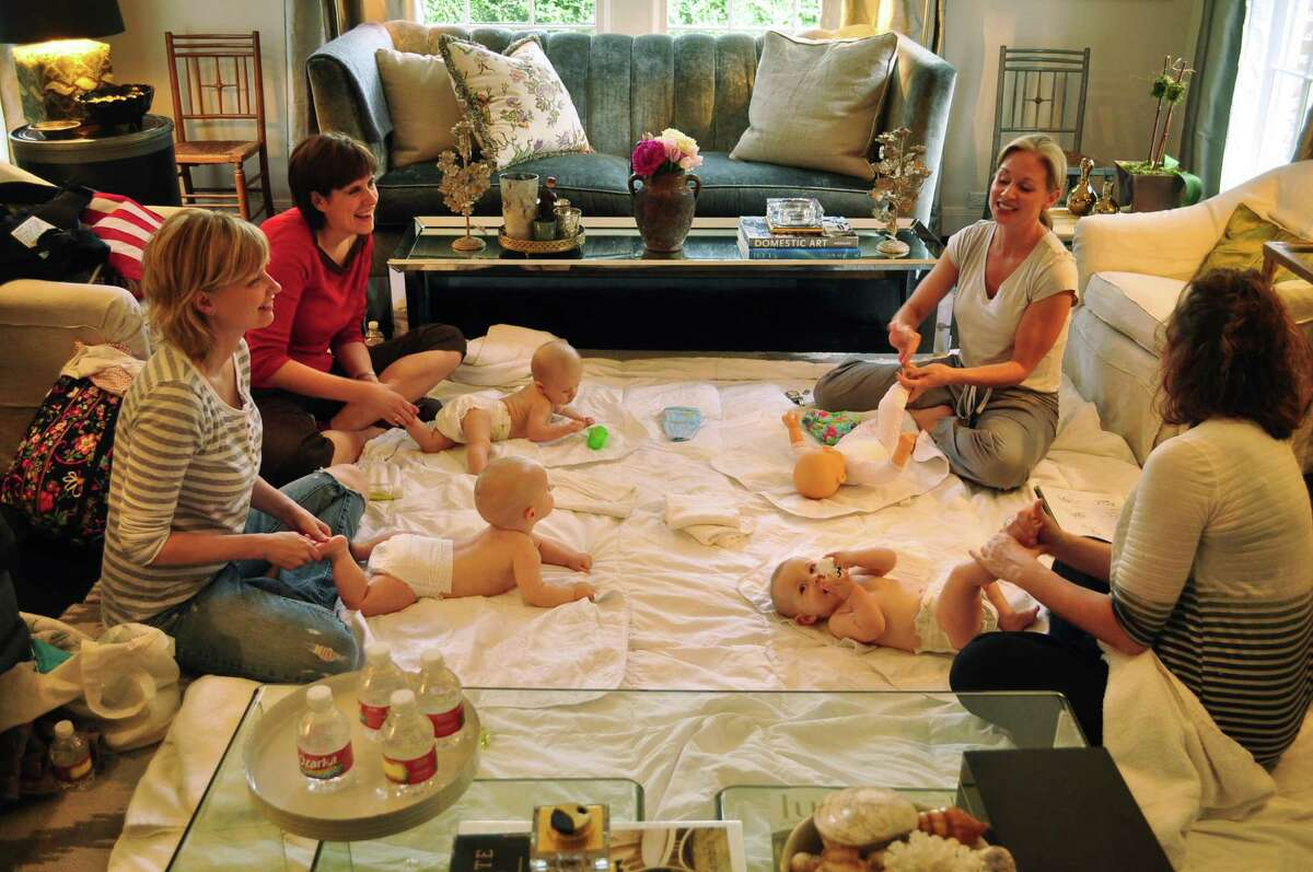 Float Baby classes are offered in small groups of four. After the babies float in water for up to 20 minutes, founder Ison teaches moms basic baby massage strokes, using a blend of organic oils with Vitamin E.