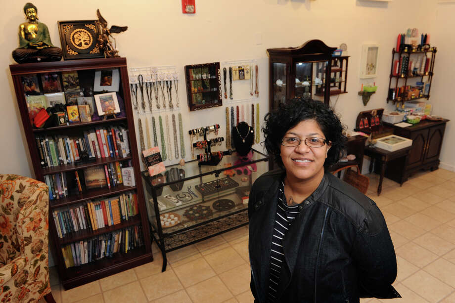 Maggie Sandoval, owner of Dreaming of Isis, a new metaphysical and new age shop in Shelton, Conn., Dec. 5, 2013. Photo: Ned Gerard / Connecticut Post