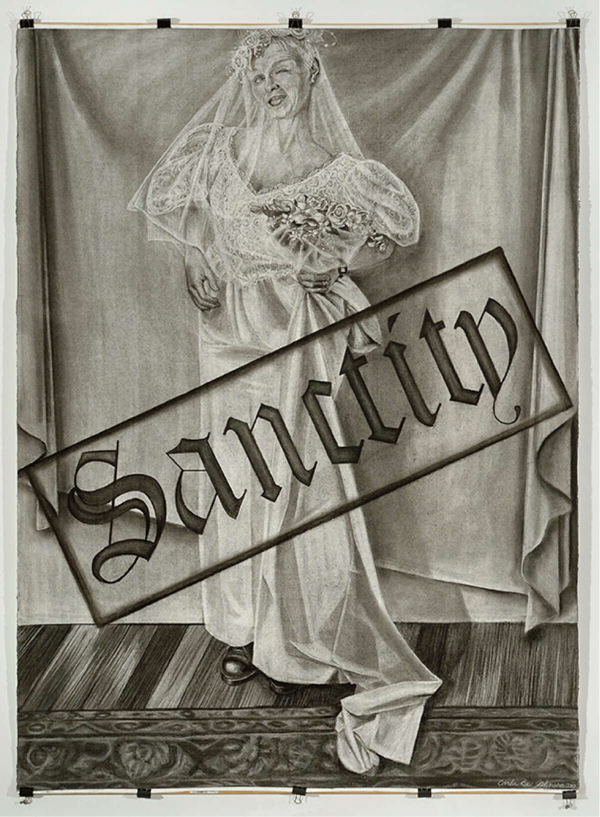 Carla Rae Johnson, Portrait of the Artist as an Arrogant America Series, Sanctity, 2010, charcoal on paper