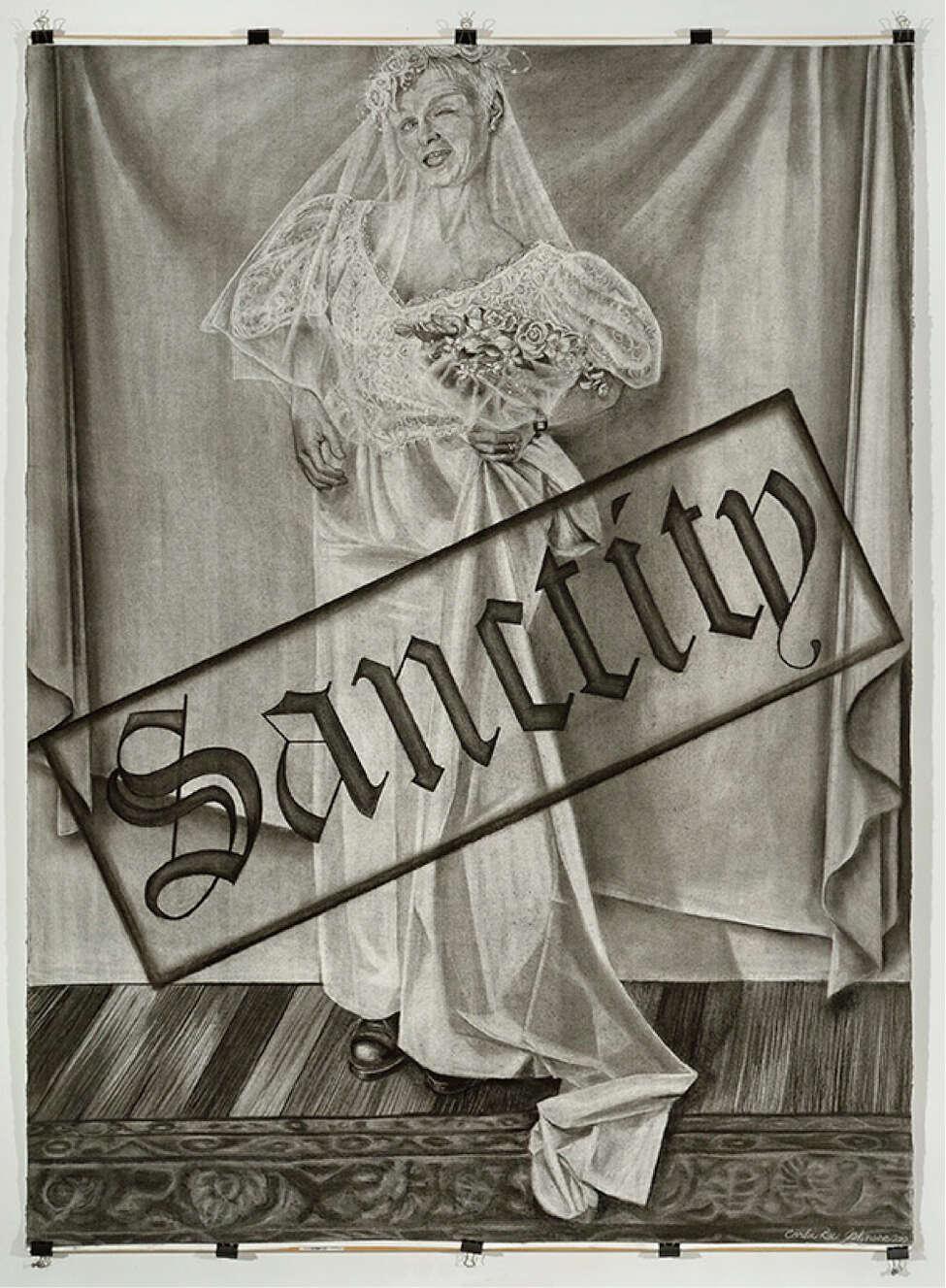 Carla Rae Johnson, Portrait of the Artist as an Arrogant America Series, Sanctity, 2010, charcoal on paper