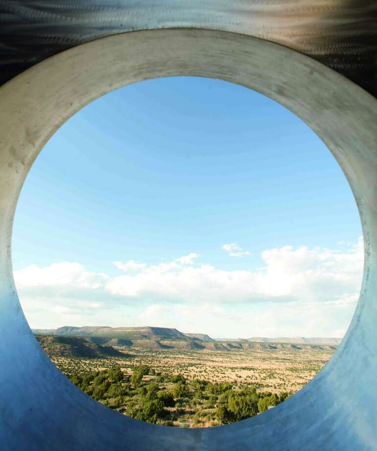 """Anton Chico, N.M.: Charles Ross has been working on  his """"Star Axis"""" complex on the Chupinas Mesa in the Sangre de Cristo Mountains since 1976. It includes the Star Tunnel, """"which rises 11 stories from an inverted cone carved into the mesa's surface and whose oculus aligns viewers directly with the earth's axis,"""" according to the new """"Art & Place: Site-Specific Art of the Americas"""" coffee-table tome. Photo: © Charles Ross, Www.phaidon.com"""