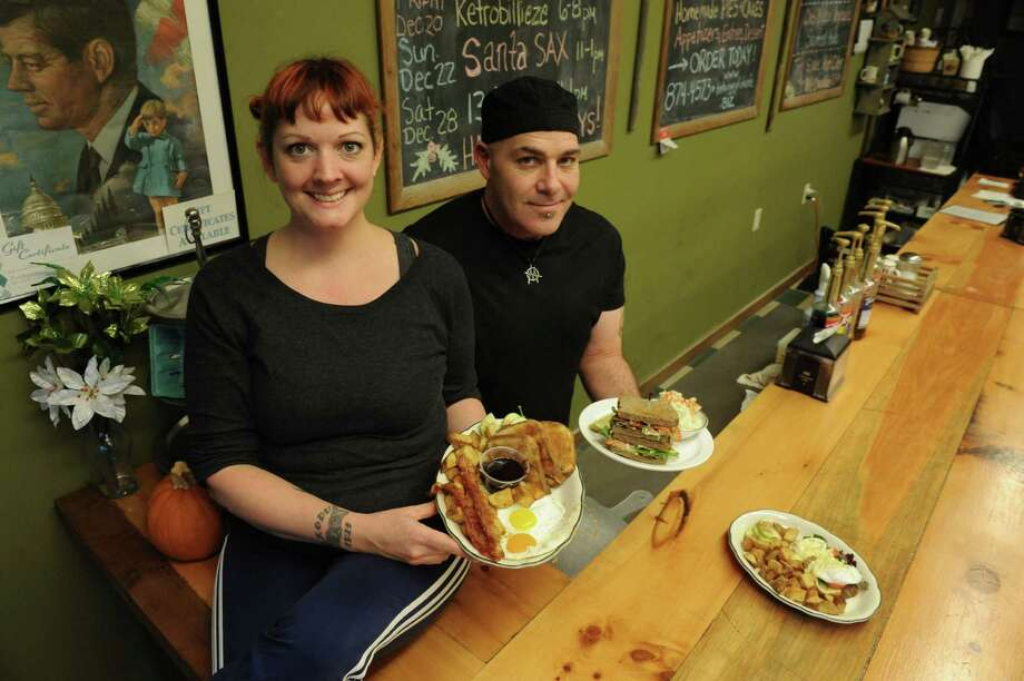 Sarah Fish and Josh Sheehan, co-owners and chefs, at the Hungry Fish Cafe on Wednesday Nov. 27, 2013 in Troy, N.Y. (Michael P. Farrell/Times Union) Photo: Michael P. Farrell / 00024811A