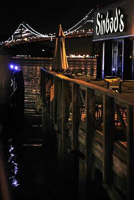 A view of the outside seating area at Sinbad's in San Francisco, Calif., looking towards the bay bridge on Wednesday, November 27, 2013.