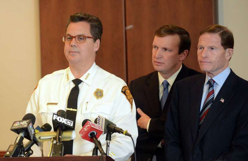 Bridgeport Police Chief Joseph Gaudet, joined by U.S. Senators Chris Murphy (D-Conn.) and Richard Bl