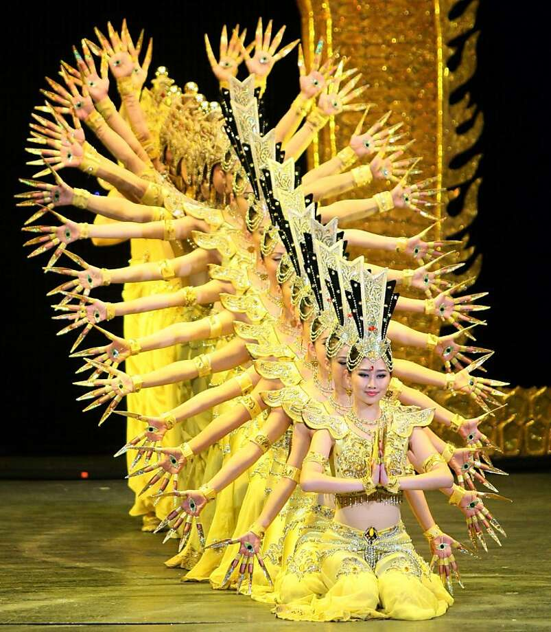 """They deserve a big hand:Dancers perform """"My Dream Gala"""" presented by China Disabled Peoples Performing Art Troupe at the National Theatre of Opera and Ballet of Albania in Tirana. Photo: Gent Shkullaku, AFP/Getty Images"""