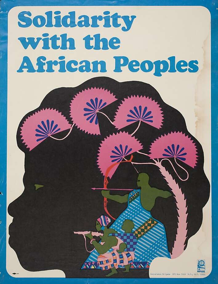 "Above: The poster, produced around 1970 by the Venceremos Brigade and adapted from an earlier Cuban poster, shows women and children in combat.  At left: ""Unite"" is a 1971 screen print by Barbara Jones-Hogu, a founding member of the African Commune of Bad Relevant Artists. Photo: Lincoln Cushing Collection."