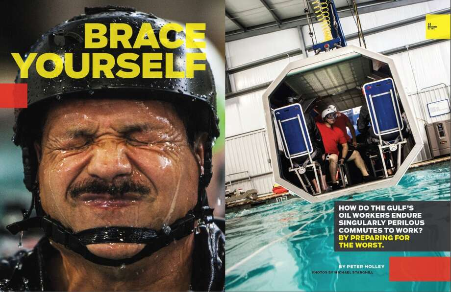The spread in the December 2013 issue of Houstonia magazine for a story on helicopter crash training for offshore oil and gas workers. Photo: Houstonia