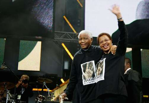 Nelson Mandela and wife Graca Machel onstage during the 46664 Concert In Celebration Of Nelson Mandela's Life after party held at Hyde Park on June 27, 2008 in London, England. Photo: Getty Images