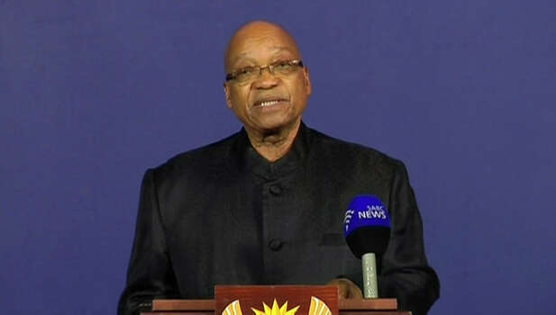 "In this image from live TV, President of South Africa Jacob Zuma announces the death of former South African President Nelson Mandela, to the media Thursday Dec. 5, 2013, from a podium in Pretoria, South Africa.  Zuma announced Thursday that former President Nelson Mandela has died aged 95, Zuma says ""we've lost our greatest son."" Photo: SABC Pool, AP / pool sabc"