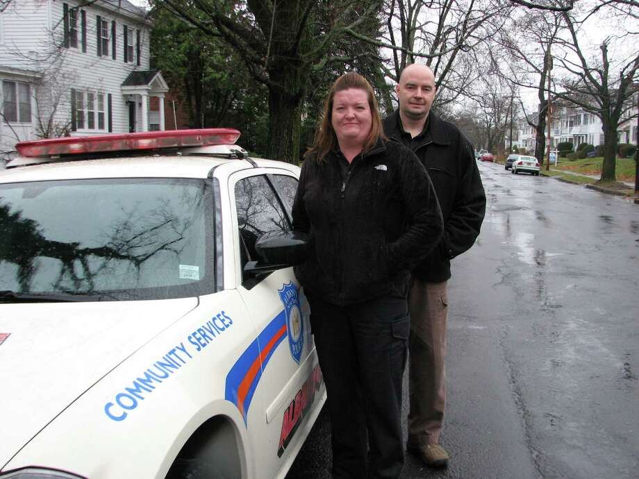 Albany police officers Janet Zalatan and Matthew Montesano serves as community service officers