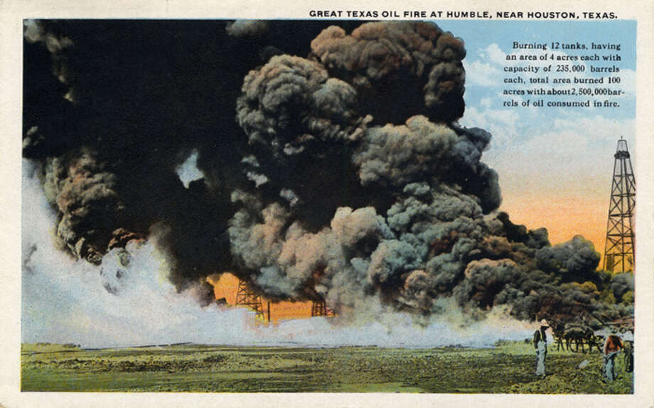A vintage postcard from 1909 shows an oil fire near Houston. (Photo by Lake County Museum/Getty Images) Photo: Curt Teich Postcard Archives, Getty Images / Archive Photos