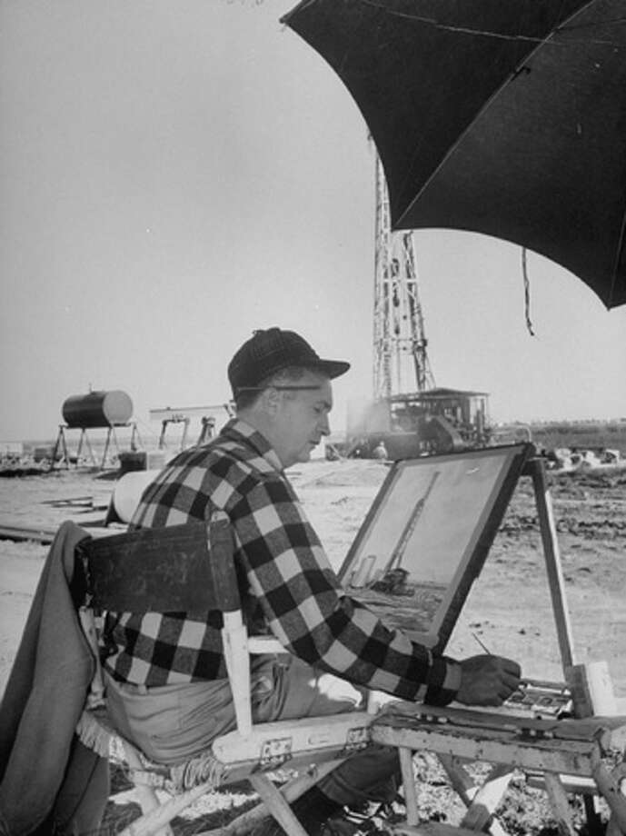 Artist Warner Hoople cashing in on oil boom by selling portraits of wells to their owners.  (Photo by Frank Scherschel//Time Life Pictures/Getty Images) Photo: Frank Scherschel, Time & Life Pictures/Getty Image / Time Life Pictures