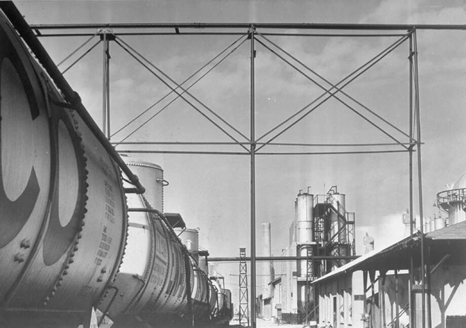 Railroad tanker cars parked at Texaco oil refinery, circa 1937.  (Photo by Margaret Bourke-White/Time & Life Pictures/Getty Images) Photo: Margaret Bourke-White, Time & Life Pictures/Getty Image / Time & Life Pictures
