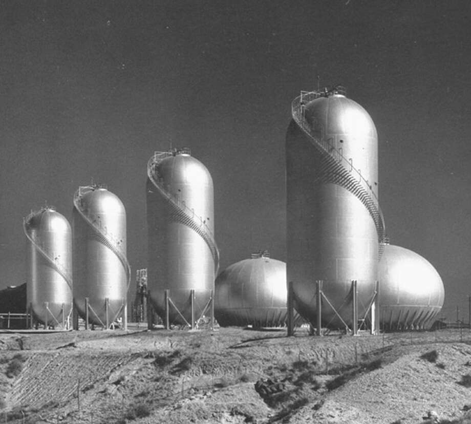 Phillips Petroleum Oil tanks in the desert.  (Photo by Robert Yarnall Richie//Time Life Pictures/Getty Images) Photo: Robert Yarnall Richie, Time & Life Pictures/Getty Image / Robert Yarnall Richie